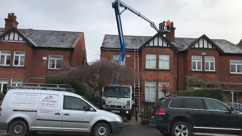 Cherry picker - work on a chimney
